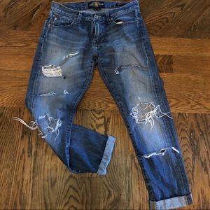 Distressed Lucky Brand boyfriend jeans
